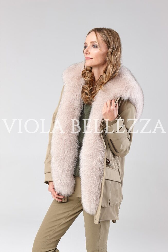 Парка BETTINA Beige/Blue Fox Fin Вуаль